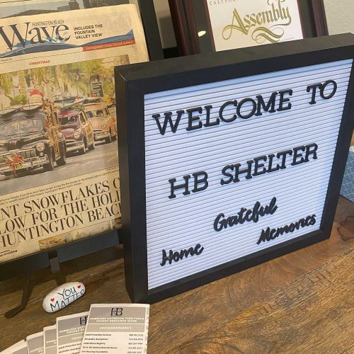 Sign saying welcome to HB Shelter